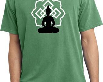 Yoga Clothing For You Mens Shirt Buddha Lotus Pose Pigment Dyed Tee T-Shirt = PC099-BLP