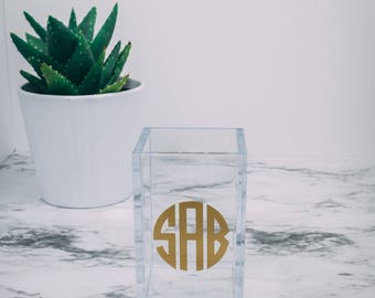 Acrylic Monogram Personalized Pencil Cup Makeup Brush Holder