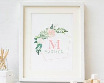 Initial Printable, Personalized Nursery Art, Monogram Art Print, custom letter print, personalized baby gift