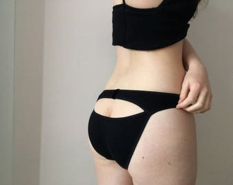 Nostalgia Organic Cotton Knickers - handmade lingerie set - comfy ribbed jersey - eco - ouvert - cut out -