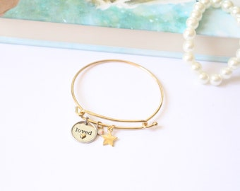 Loved Charm | Adjustable Charm Bracelet| Bridesmaid Gift| Bridesmaid Proposal|  Mother In Law Gift| Gift for Mom| Sister In Law Gift