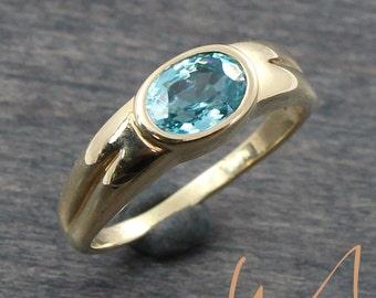 Natural Blue Zircon Bezel Ring - LCSR738