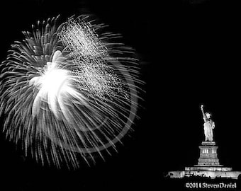 Statue of Liberty, Liberty at Night With Fireworks Show, 150th Anniversary