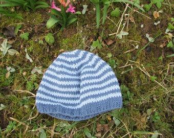 Sky blue and dark blue striped cotton Beanie