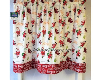 Christmas Tier Cafe Curtain Santa Claus Old Saint Nick and Santa's Sleigh Jingle Bells Kitchen Curtain Christmas Decor Free Ship Red White