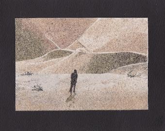 Natural sand painting 18x24 cm Desert 2