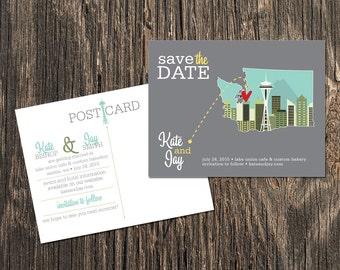 Seattle – Save the Date – Washington Destination Wedding – Wedding Save the Dates