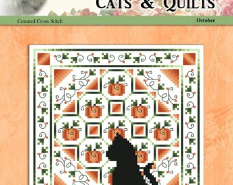 Cats And Quilts October Original Counted Cross Stitch Pattern by Pamela Kellogg