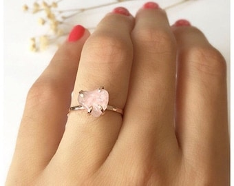 Rose Quartz Engagement Ring, Rose Quartz Ring, Yoga Ring, Rose Quartz Jewelry, Engagement Rings, Rose Quartz Stone