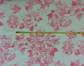 "Cotton poly lycra rib knit 48"" wide Pink Roses 1 yard"