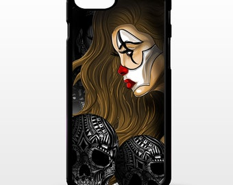 Clown girl Jester joker circus pin up girl clowns tattoo art cover for iphone 4 4s 5 5s 5c SE 6 6s 7 8 plus X phone case