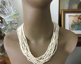 Rice Pearl Necklace // 10 Strands // 80s Pearl Necklace