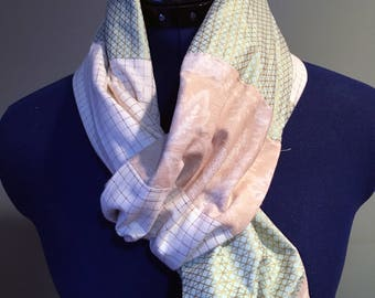 Cotton and Flannel Infinity Scarf / Colorblock / Patchwork / Mint Cream Gold - READY TO SHIP
