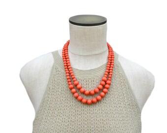 orange necklace / orange bead necklace / orange statement necklace / spring necklace / orange wood bead necklace / multi strand necklace