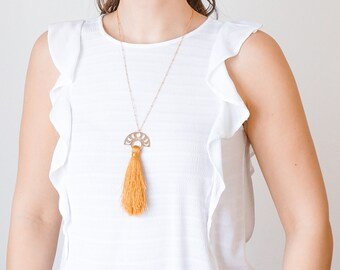 Moon Phases Necklace Tassel Necklace Statement Necklace Gold Necklace Crescent Moon Necklace Crescent Necklace Celestial Jewelry/ OTTAVA