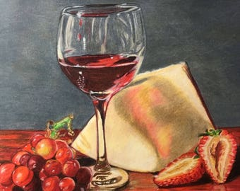 Wine And Cheese ,Colored Pencil , Painting ,8x8 , Free Shipping