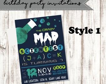 Birthday Party Invitation; Boy Birthday; Mad Scientist Birthday Party; Science Birthday Party