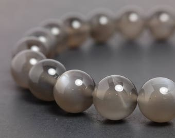 8mm Gray Moonstone (Feldspar) Stretch Bracelet