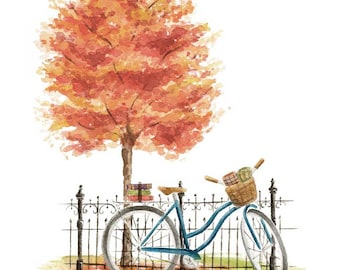 Vintage Bicycle with Autumn Tree Fine Art Watercolor Print Halloween