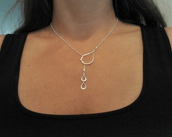 "Tears of joy""  - Silver tear drops Lariat  necklace, charm tears, relationship, love, for her, sister, mom of two gift"
