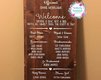 Wedding Program Alternative, Wedding Programs, Wedding Program Sign, Wood Wedding Program, Wedding Sign, Choose a Seat, Not A Side, Welcome