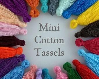Cotton Tassel, Mini Tassel, 20/50/100pc, Mixed Colours, 25-35mm, Boho Tassel, Moroccan Tassel, Little Tassels, TS111