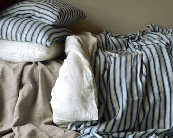 French vintage Navy Ticking heavy linen Flat Sheet/ Comforter. Heavy weight linen bedding