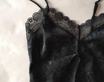 black lace bodysuit | 1980s one piece | leaf print lace bikini bodysuit | high cut bodysuit