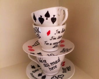 Alice In Wonderland Inspired Teacup & Saucer Ornament ~ Centrepiece