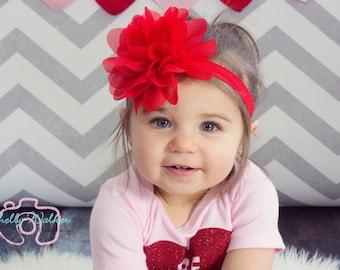 Big Red Baby Headband Newborn Headband Toddler Headband Baby Bow Hairbow Hair Bow Baby Girl 1st Birthday Cake Smash Flower Headband Infant