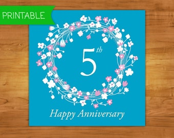 Printable 5th ANNIVERSARY CARD, Turquoise -  Hand made