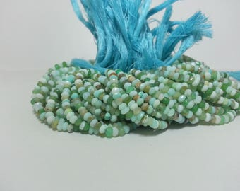 5 Strands Peruvian Opal Faceted Rondelle Beads | Faceted Opal Beads Strand | Lot of Peruvian Opal Beads Lot | Lot of Peru Opal Beads