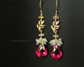 Gemstone Earrings Long Earrings Drop Earrings Pink Earrings Cluster Earrings Gold Earrings Statement Earrings Stone Earrings Pink Jewelry