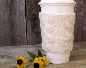 Coffee Sleeve, Coffee Cozy, Cable Knit Coffee Cup Sleeve, Cream, Off White, Coffee Cup Sleeve, Coffee Cup Cozy, Travel Mug Sleeve, Mug Cozy
