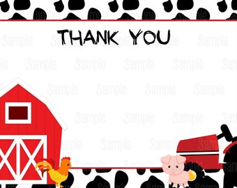 Instant Download Printable Farm animals thank you card