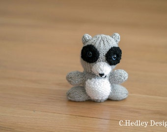 Mini Knitted Plush Raccoon - Toy, Baby Shower, Stuffed Animal, Nursery, Desk Companion and more