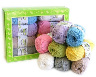 Cotton Pastels - Yarn Kit - 8 balls of mercerized cotton yarn in pastel colors