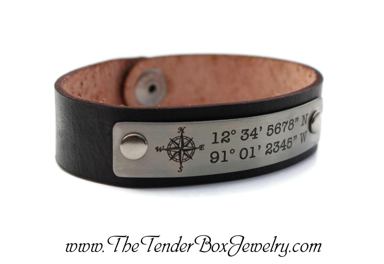 Custom Coordinates Mens Personalized Leather Bracelet Longitude