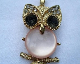 Spring SALE 20% OFF Vintage Gorgeous Rhinestone Owl Pendant with pink jelly belly