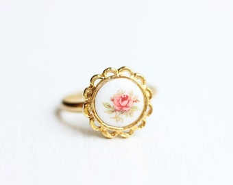 Pink Rose Ring, Rose Ring, Pink Flower Ring, Flower Ring, Adjustable Gold Ring, Cabochon Ring