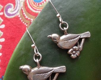 Tweet Tweet Sweet Bird & Blossom on a Branch Earrings in Sterling