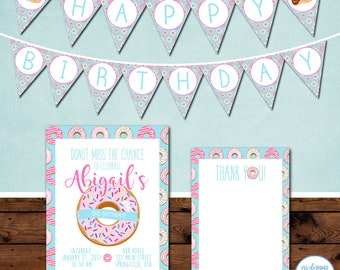 Donut Party Package, Donut Party Invitation, Donut Birthday Party Invite, Doughnut Birthday Party Invitation