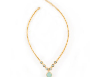 Gemstone Statement Necklace - Aqua Chalcedony and Labradorite in Yellow Gold Bib Necklace - Short Adjustable Necklace