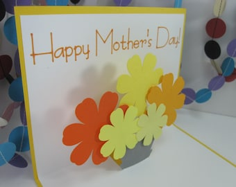 Happy Mother's Day Pop Up Card - blue or yellow - mothers day flowers - mothers day bouquet - pop up bouquet - pop up flowers