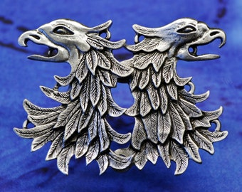 Griffin Cloak Clasp | Eagle Cloak Clasp | Gyrphon Cloak Clasp | Handcrafted Pewter by Treasure Cast | Made in the USA