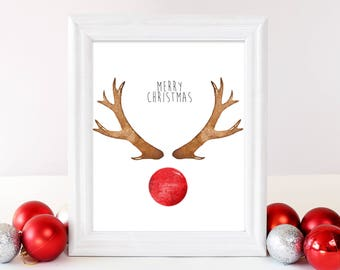 Merry Christmas Reindeer PRINTABLE, Rudolph Wall Art, Christmas Wall Art, Holiday Wall Art, Rudolph Reindeer Art, Christmas Decor