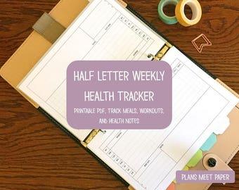 PRINTABLE Half Letter Weekly Health Tracker