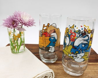 The Smurfs Collectible Glasses Handy Smurf Hefty Smurf Set of Two 1980s
