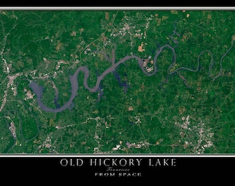 Old Hickory Lake Tennessee Satellite Poster Map