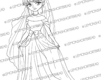 Digital Stamp Bride Gown, Digi Download, Wedding Bridal, Princess Evening Fashion, Clip Art, Coloring Page, Scrapbooking Supplies